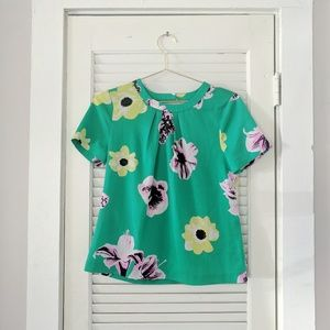 J. Crew Floral Silky Green Blouse